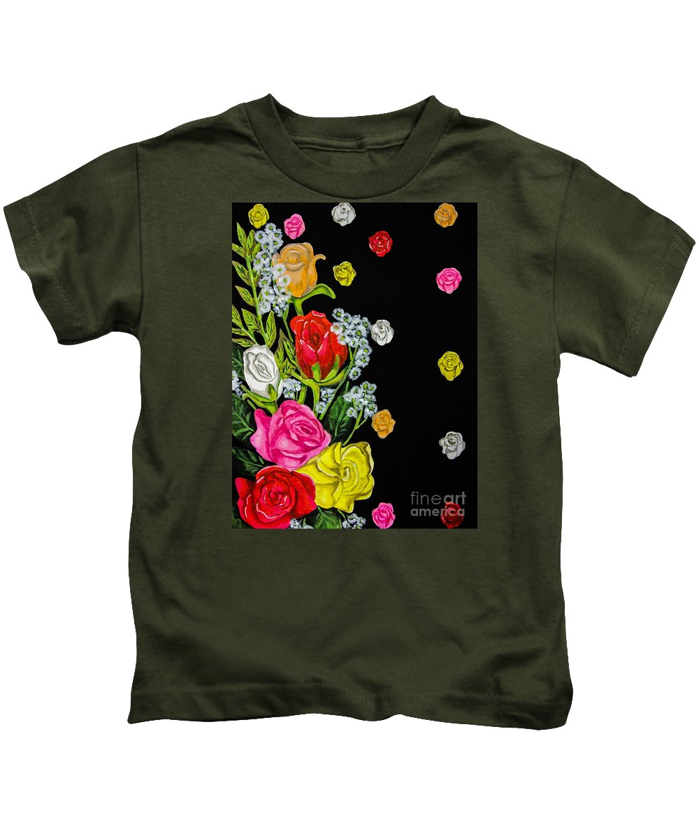 Black. Roses. Leaves. Flowers. Pink. Red. Yellow. White. Peach. Kids T-Shirt featuring the painting Floral Rhapsody Pt.4 by Dawn Siegler