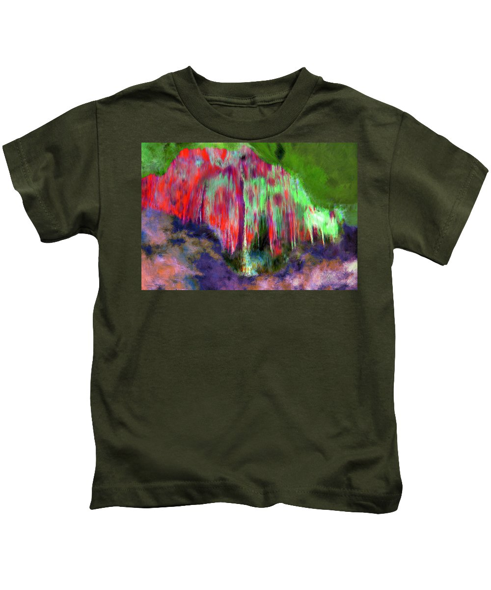 Red Kids T-Shirt featuring the painting Florescent Cave by Bruce Nutting