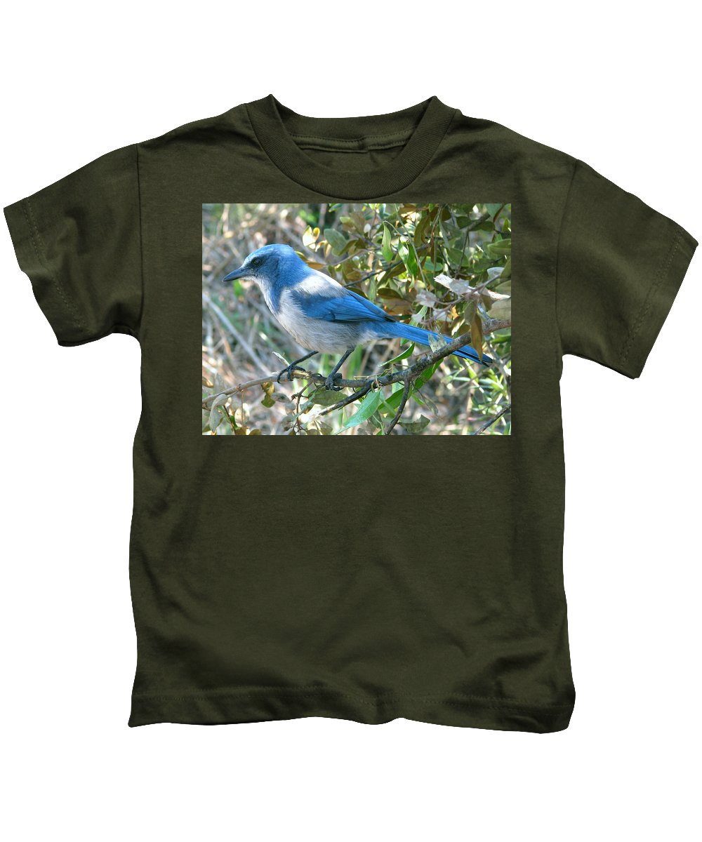 Nature Kids T-Shirt featuring the photograph Florida Scrub Jay by Peg Urban
