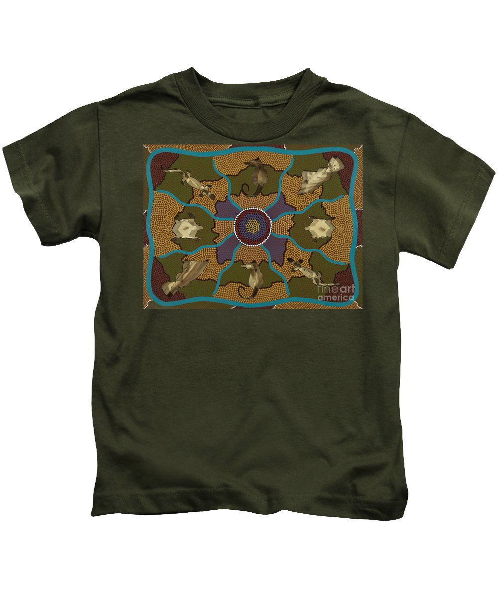 Aboriginal Kids T-Shirt featuring the painting Flow Of Life by Clifford Madsen