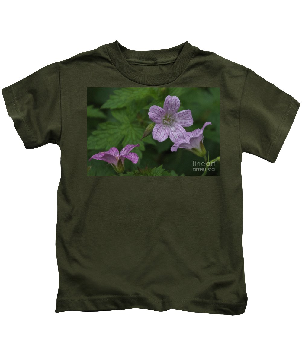 Purple Kids T-Shirt featuring the photograph Flower Bath by William Norton
