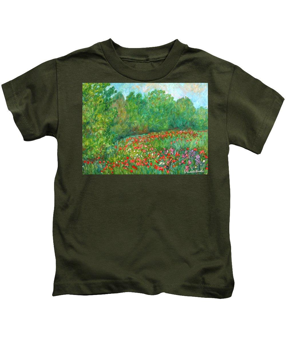 Blue Ridge Paintings Kids T-Shirt featuring the painting Flower Field by Kendall Kessler