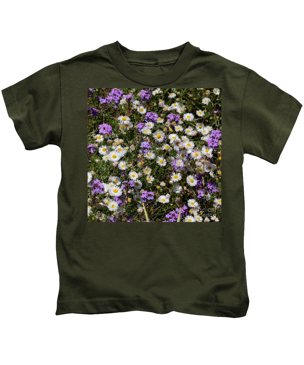 Purple Flowers Kids T-Shirt featuring the photograph Flower Mix - Purple And White by Carol Groenen