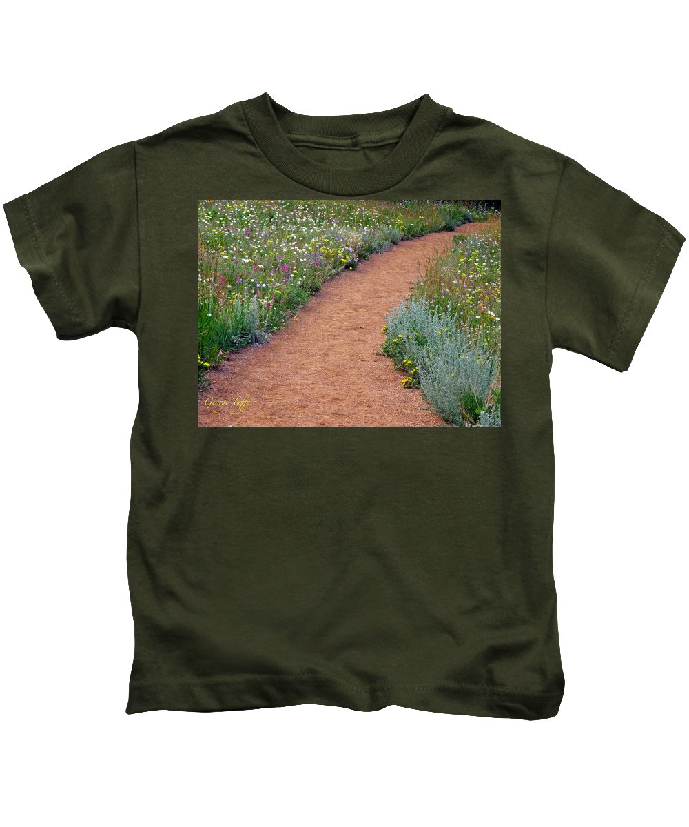 Wild Flowers Nature Landscape Hiking Path Colorado Rocky Mountains Kids T-Shirt featuring the photograph Flower Path by George Tuffy