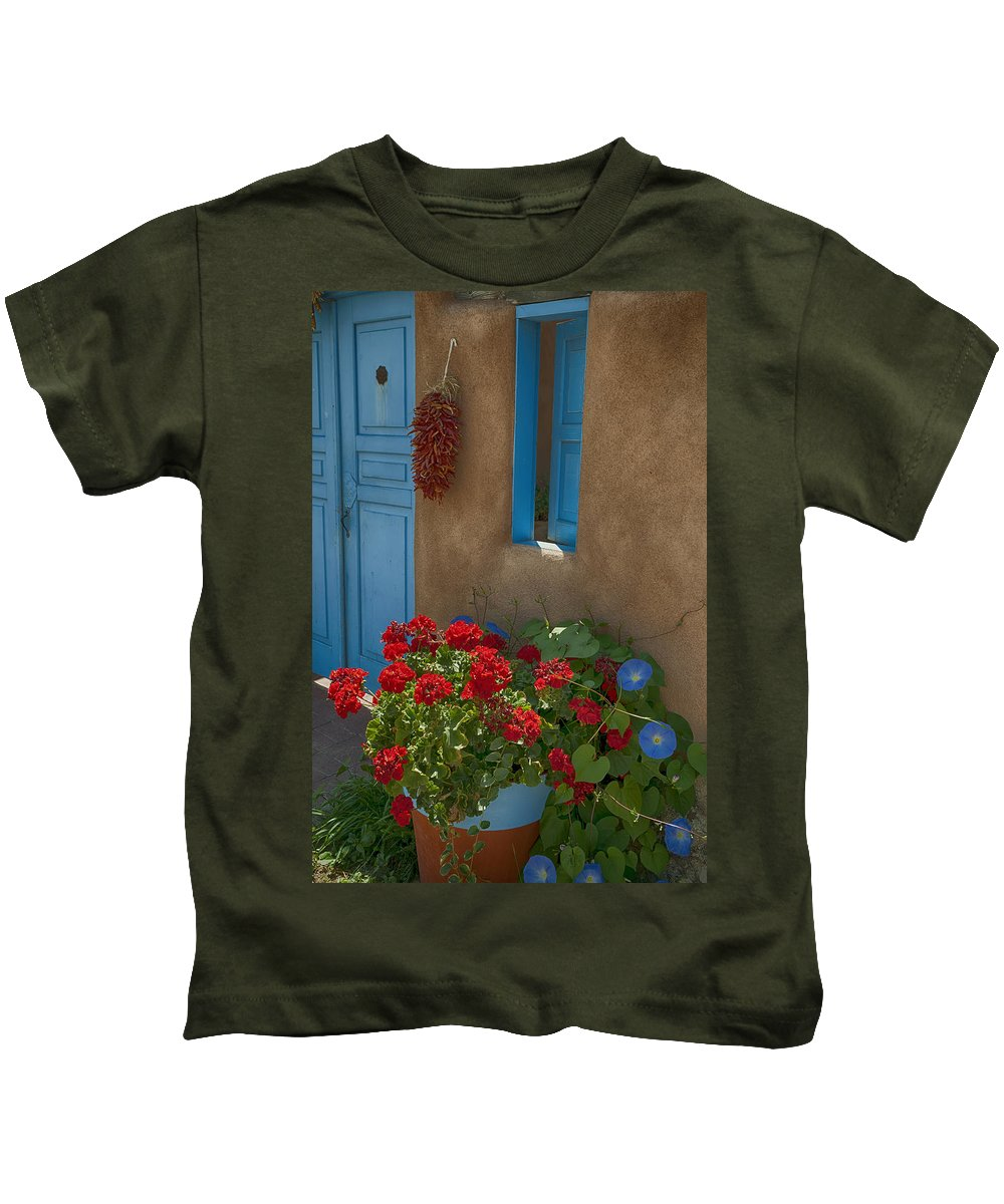 Flowers Kids T-Shirt featuring the photograph Flowers At Ranchos De Taos by Greg Kluempers