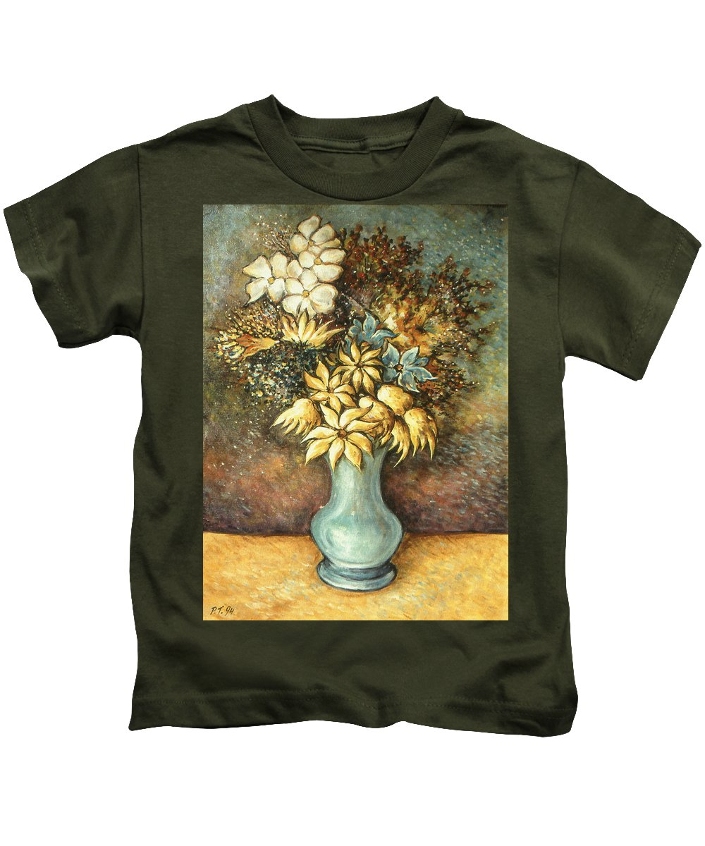 Flowers Kids T-Shirt featuring the painting Flowers In Blue Vase - Still Life Oil by Peter Potter