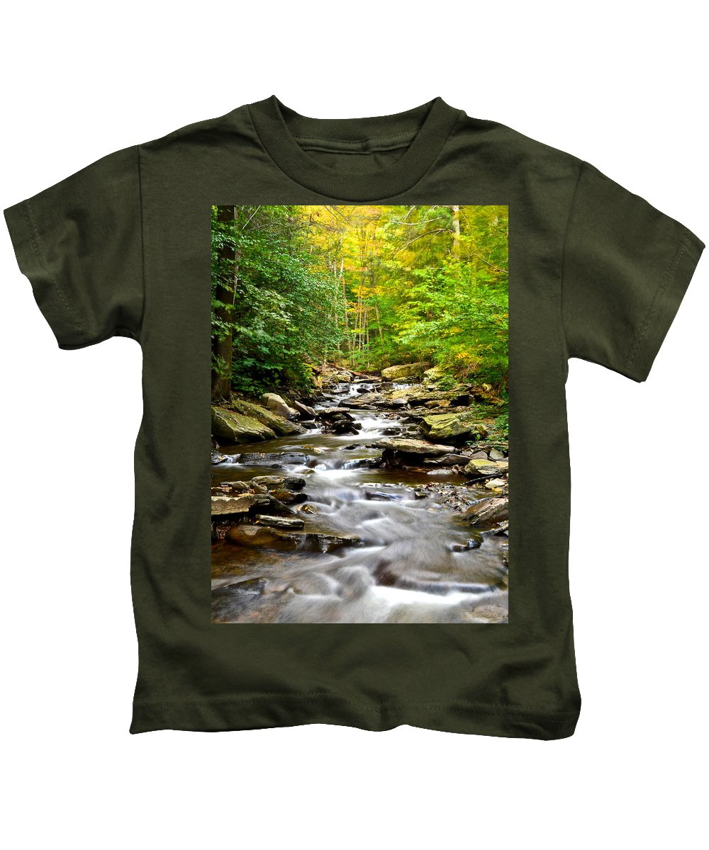 Stream Kids T-Shirt featuring the photograph Flowing Stream by Frozen in Time Fine Art Photography