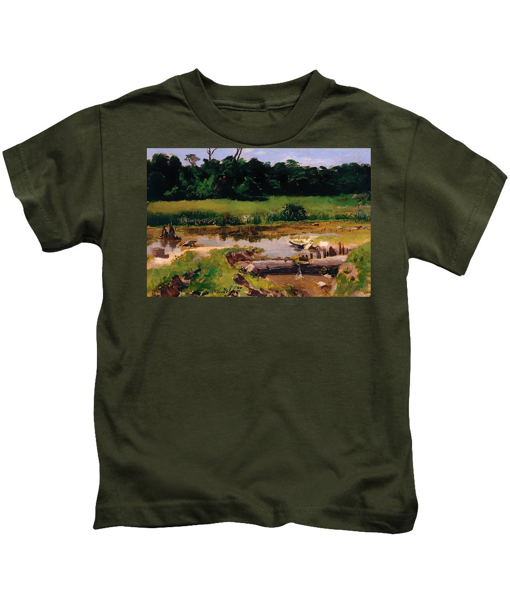 Painting Kids T-Shirt featuring the painting Fluvial Landscape by Mountain Dreams