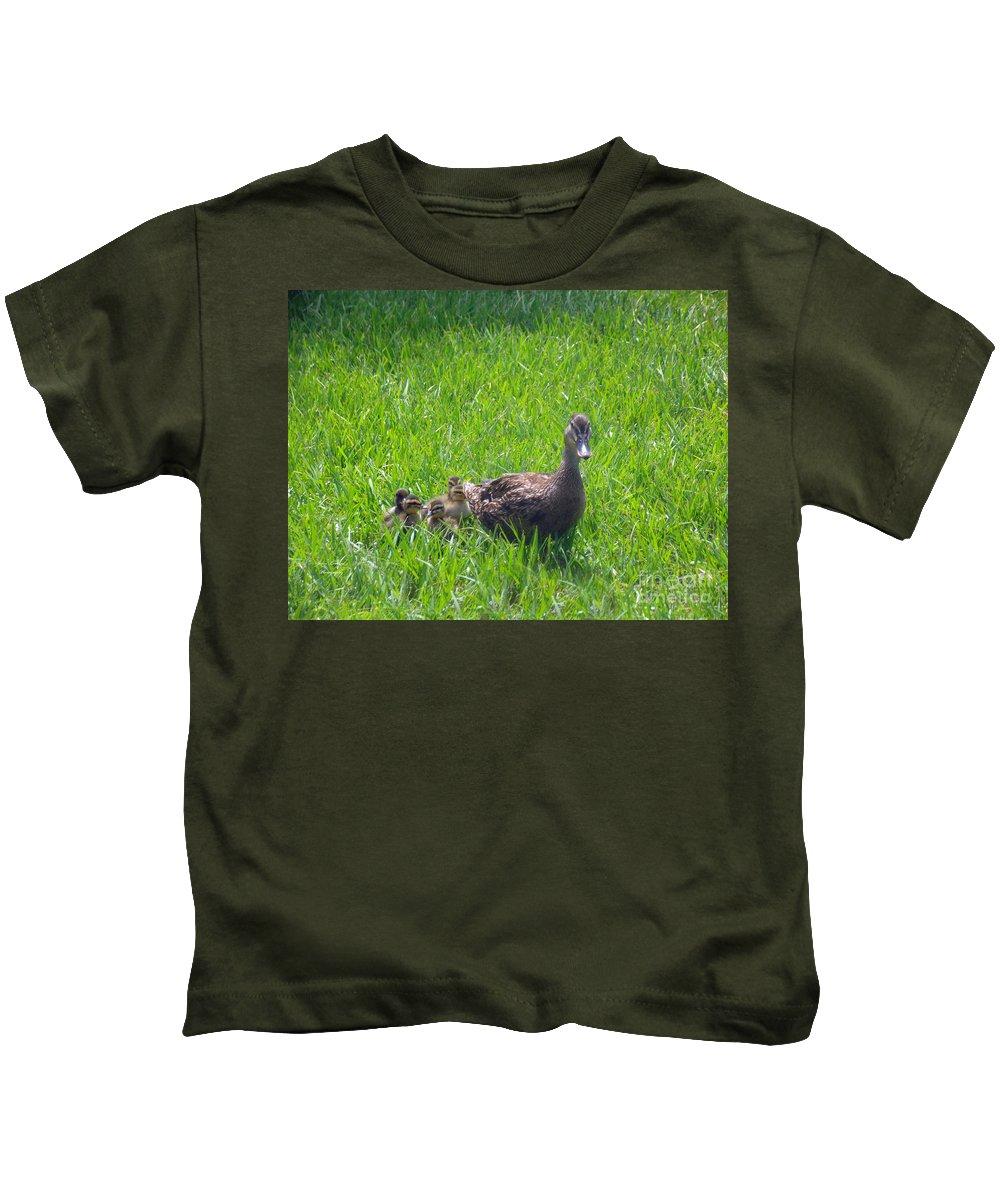 Mallard Kids T-Shirt featuring the photograph Follow The Leader by Jennifer Lavigne