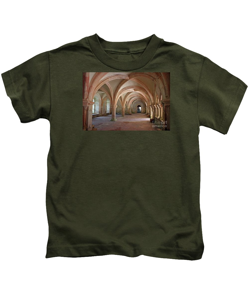 Abbey Kids T-Shirt featuring the photograph Fontenay Abbey Cross Vault by Christiane Schulze Art And Photography