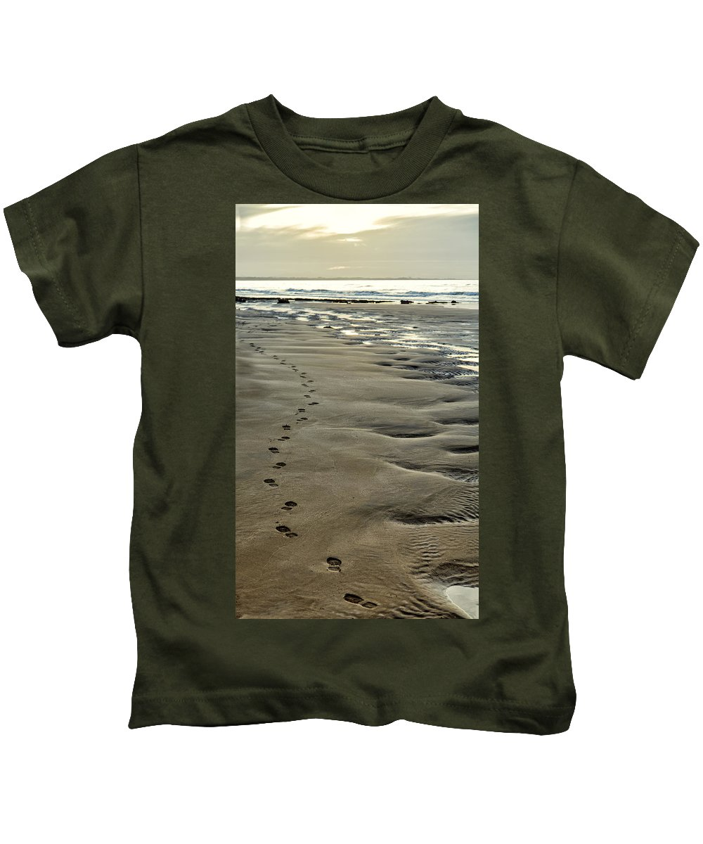Ocean Kids T-Shirt featuring the photograph Footprints On The Beach by Russ Dixon