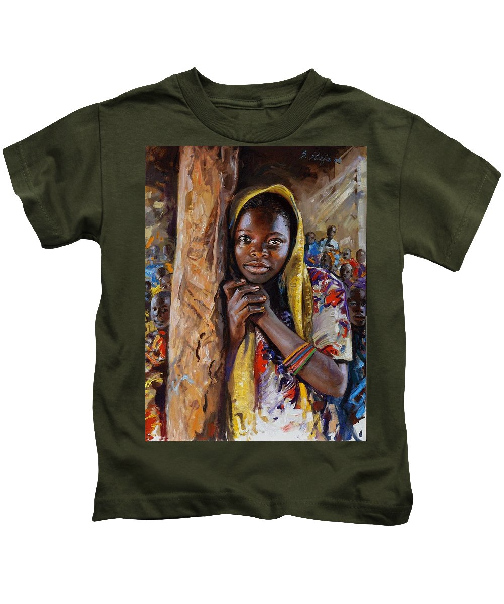 African Girl Kids T-Shirt featuring the painting For A Better Life by Sefedin Stafa