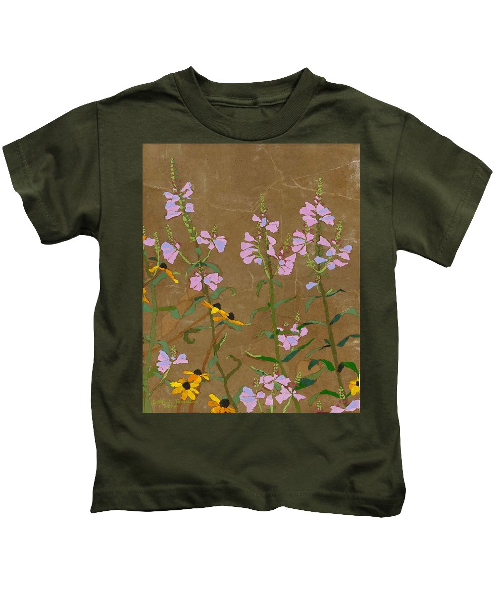 Floral Kids T-Shirt featuring the painting For Jack From Woodstock by Leah Tomaino