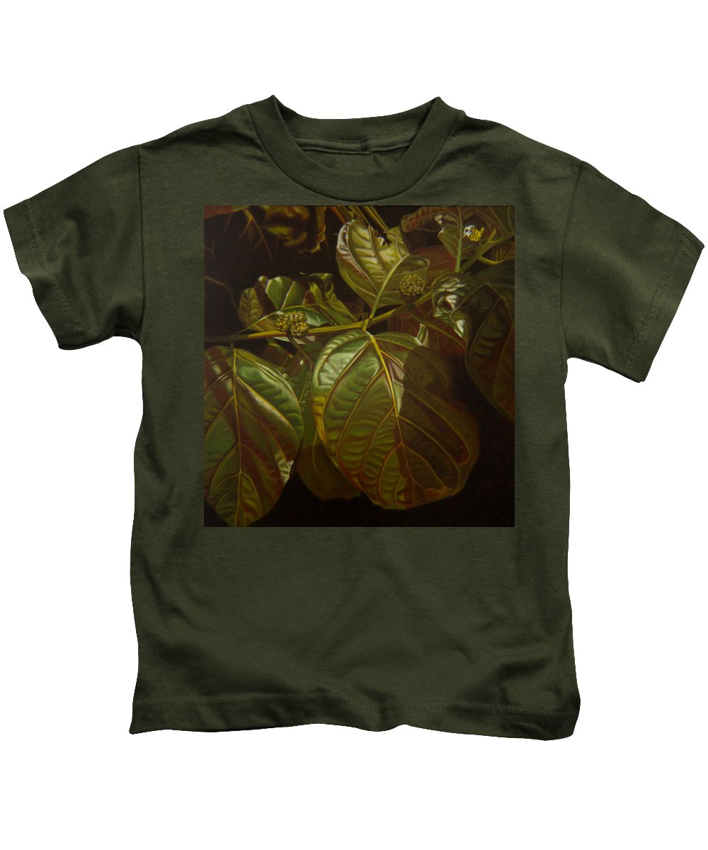 Tropical Plants Kids T-Shirt featuring the painting Forbidden Fruits by Thu Nguyen