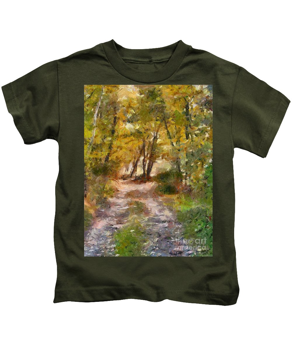 Landscape Kids T-Shirt featuring the painting Forest Path by Dragica Micki Fortuna