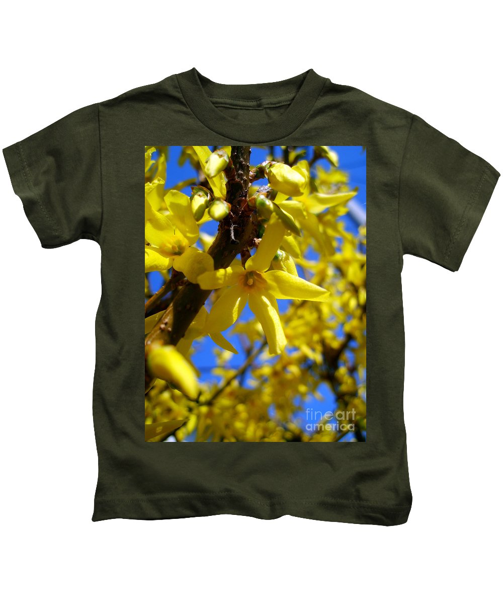 Forsythia Kids T-Shirt featuring the photograph Forsythia by Nina Ficur Feenan