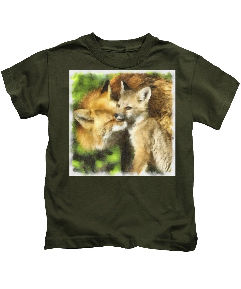 Watercolor Kids T-Shirt featuring the photograph Fox One by Ingrid Smith-Johnsen