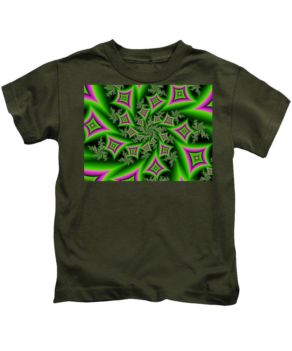 Digital Art Kids T-Shirt featuring the digital art Fractal Dancing Shapes by Gabiw Art