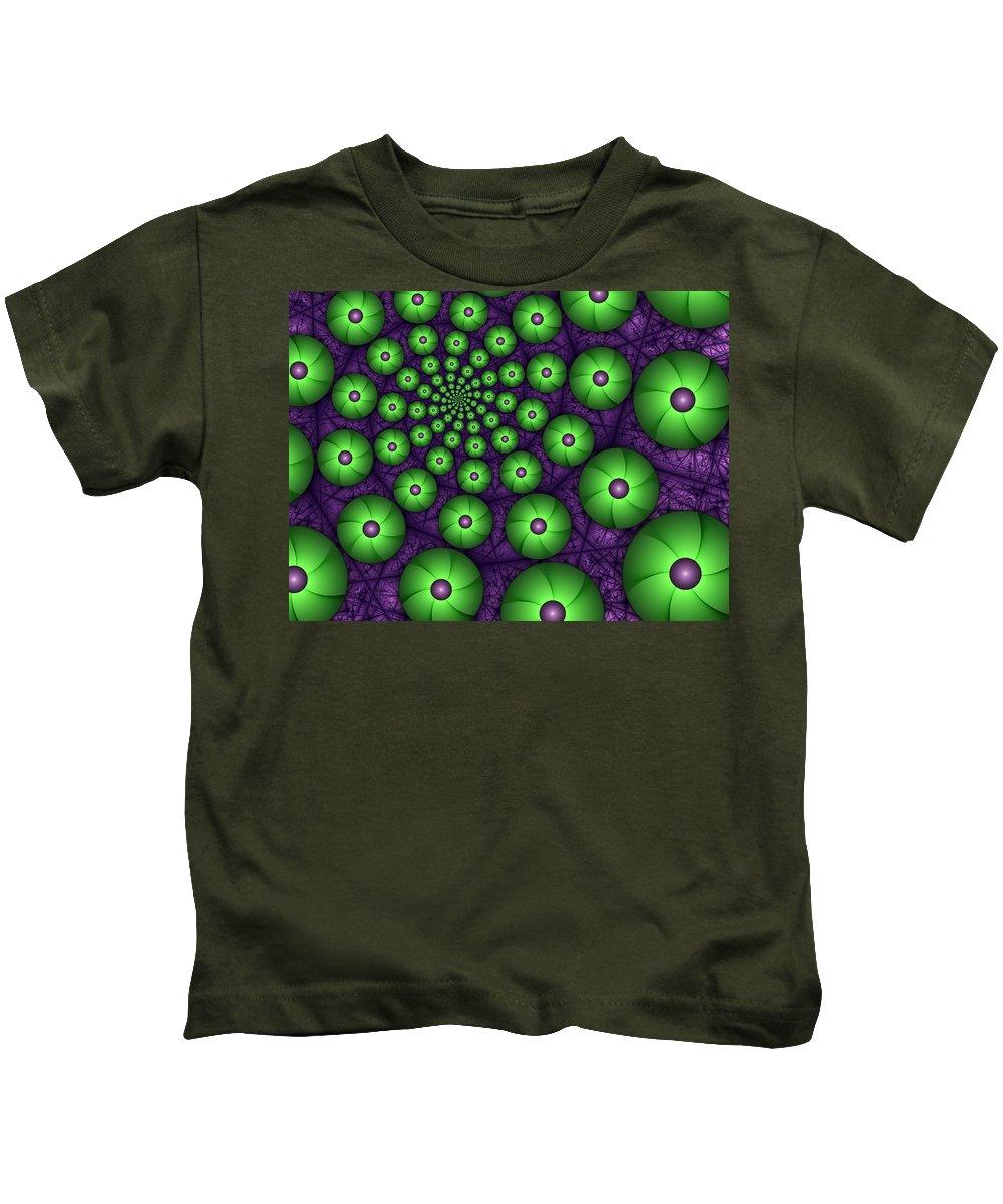 Fractal Kids T-Shirt featuring the digital art Fractal Green Shapes by Gabiw Art