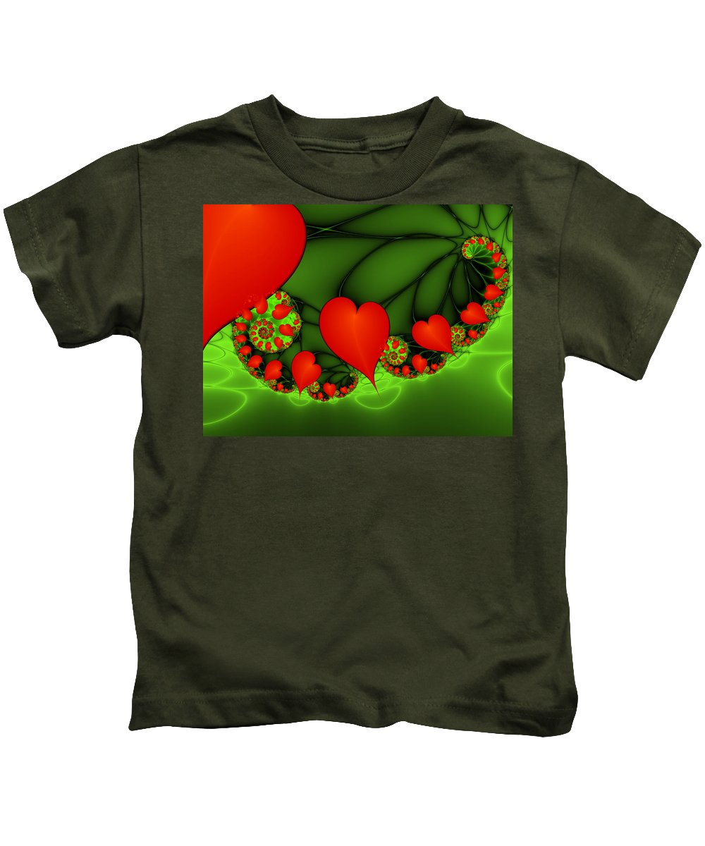 Digital Art Kids T-Shirt featuring the digital art Fractal Hearts In The Discothec by Gabiw Art