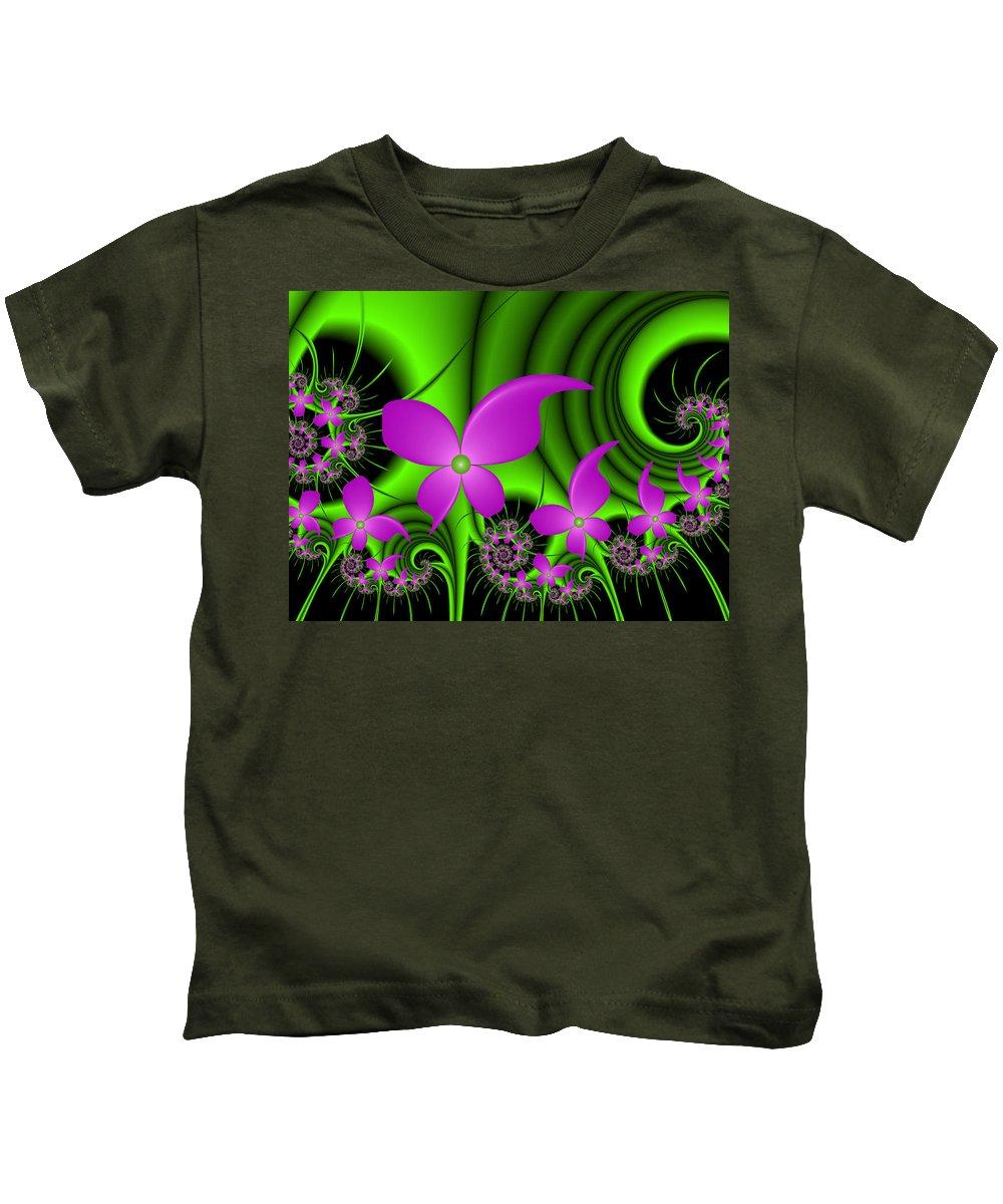 Digital Art Kids T-Shirt featuring the digital art Fractal Neon Fantasy by Gabiw Art