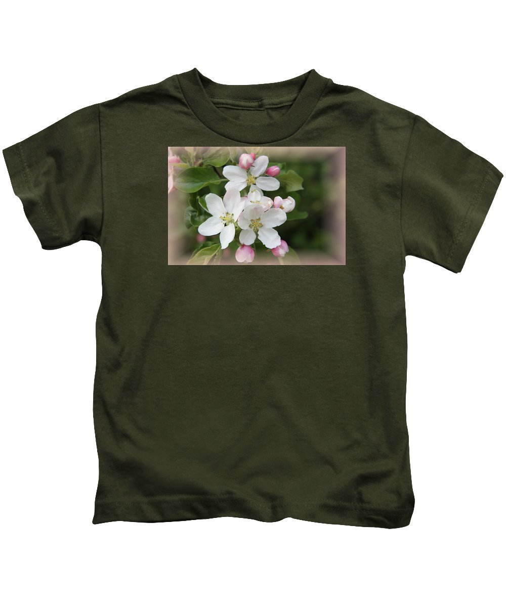 Appleblossom Kids T-Shirt featuring the photograph Framed Apple Blossom by Christiane Schulze Art And Photography
