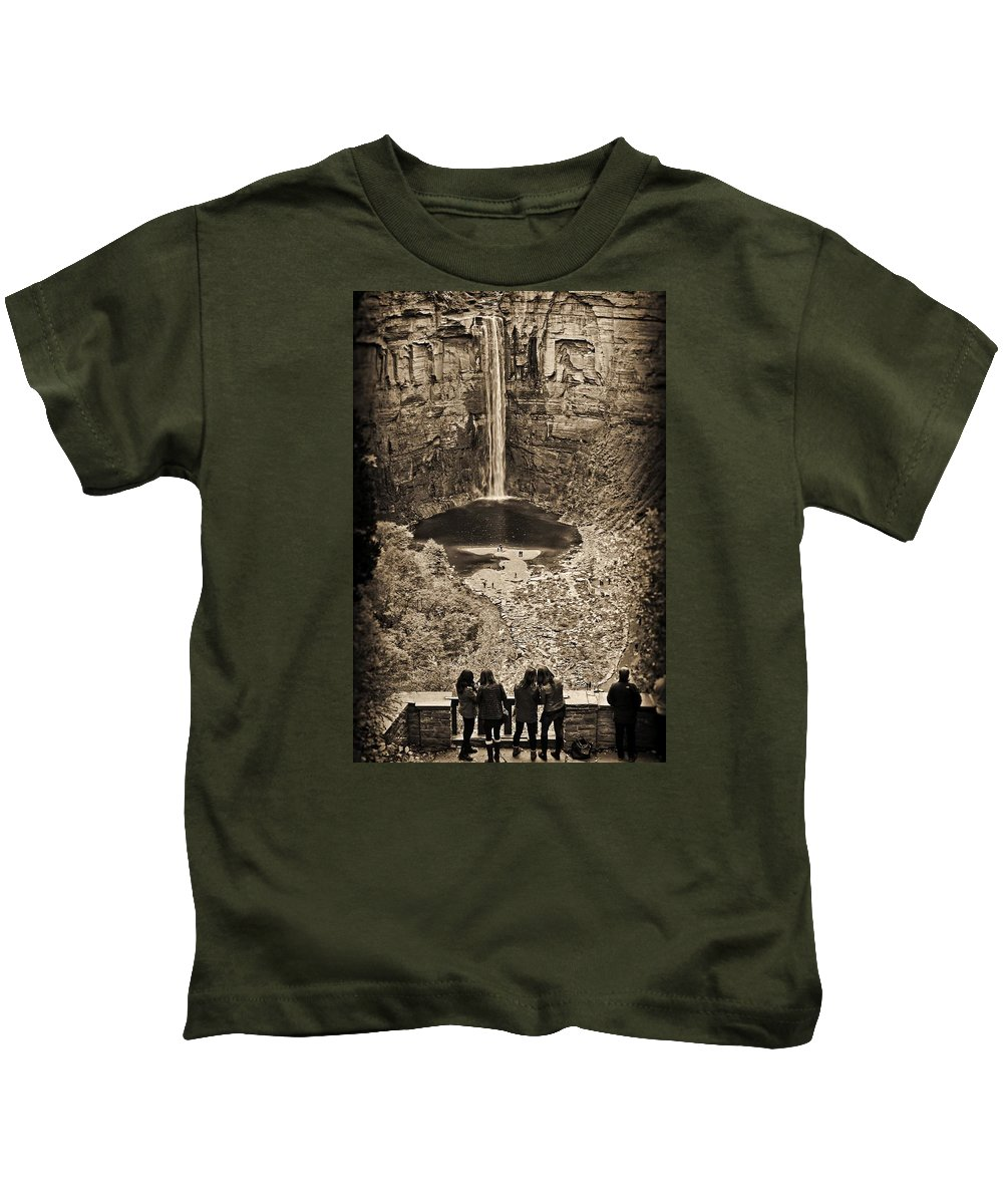 B/w Kids T-Shirt featuring the photograph Friends At The Falls by Marvin Borst