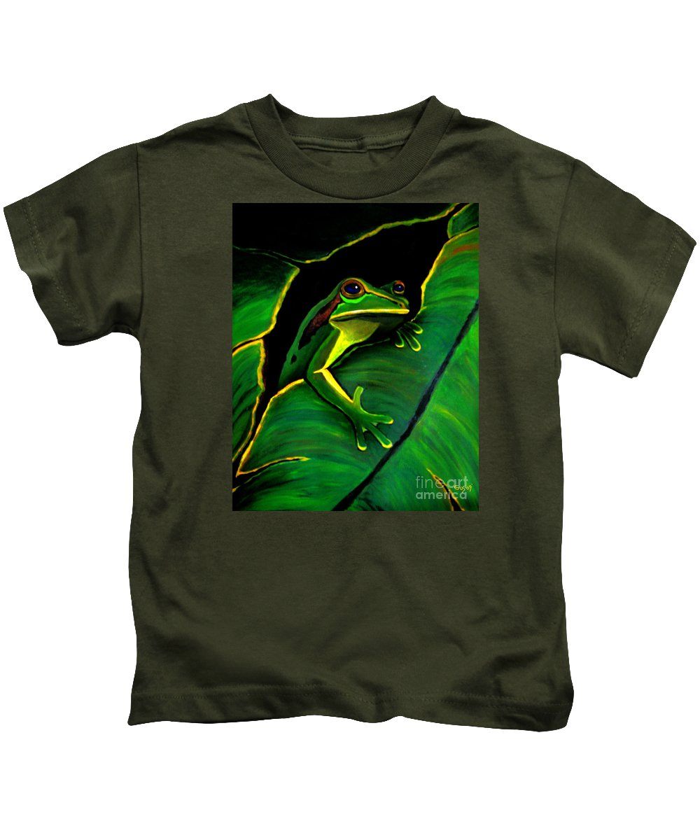 Frog Kids T-Shirt featuring the painting Frog And Leaf by Nick Gustafson