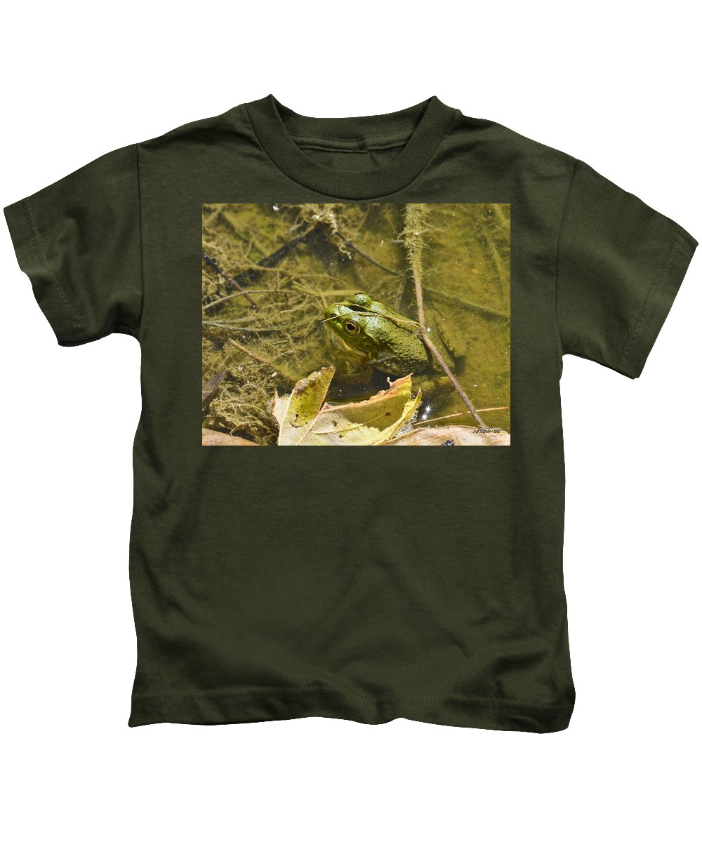 Fredericksburg Kids T-Shirt featuring the photograph Frog Thinks He's Hidden Under A Twig by Allen Sheffield