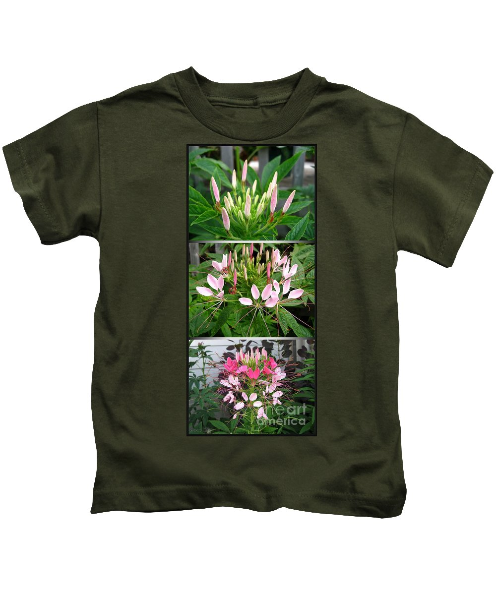 Bud To Bloom Kids T-Shirt featuring the photograph From Bud To Bloom - Cleome Named Pink Queen by J McCombie