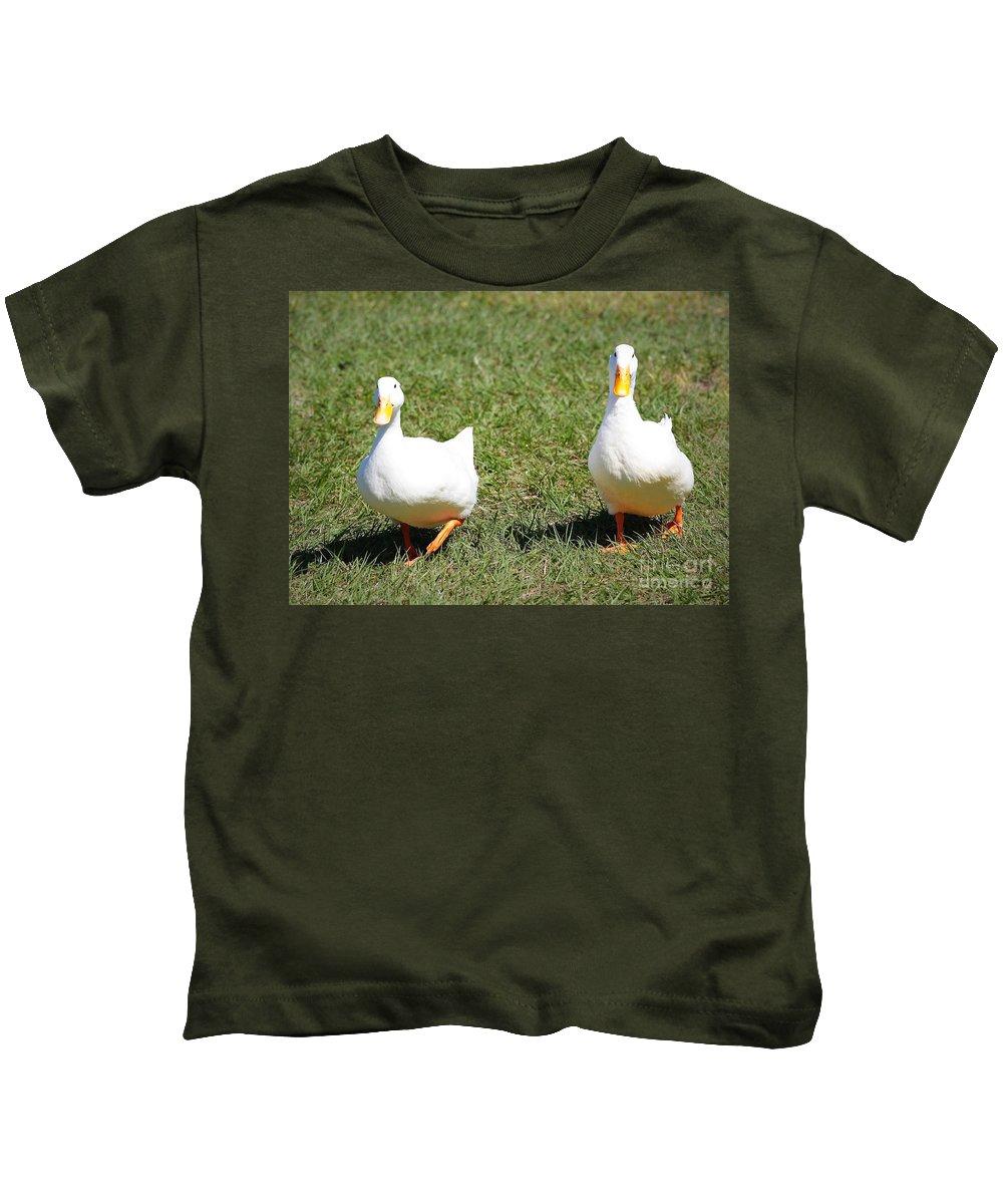 Anas Platyrhynchos Domesticus Kids T-Shirt featuring the photograph Fun Ducks by Carol Groenen