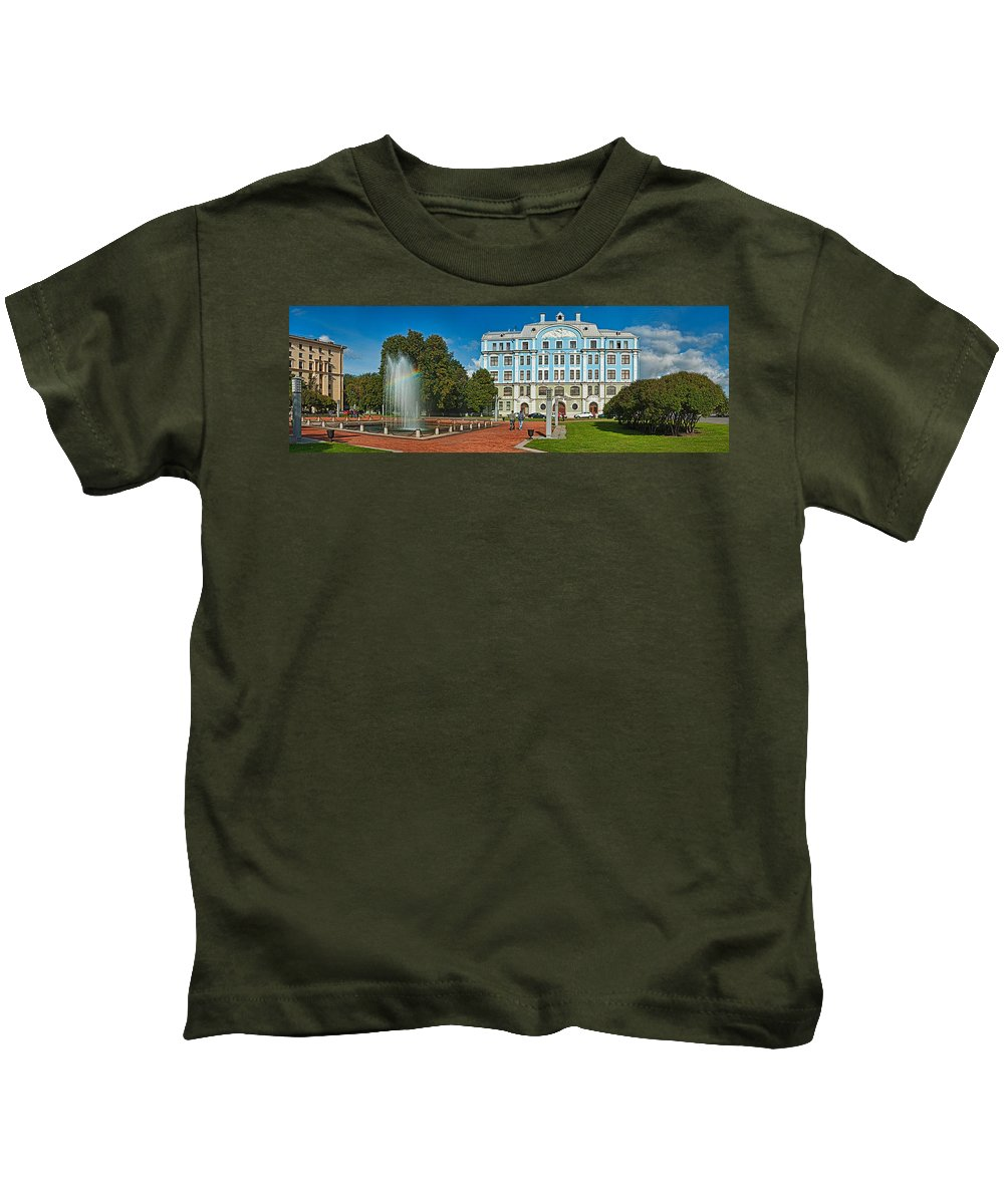 Photography Kids T-Shirt featuring the photograph Garden In Front Of An Education by Panoramic Images