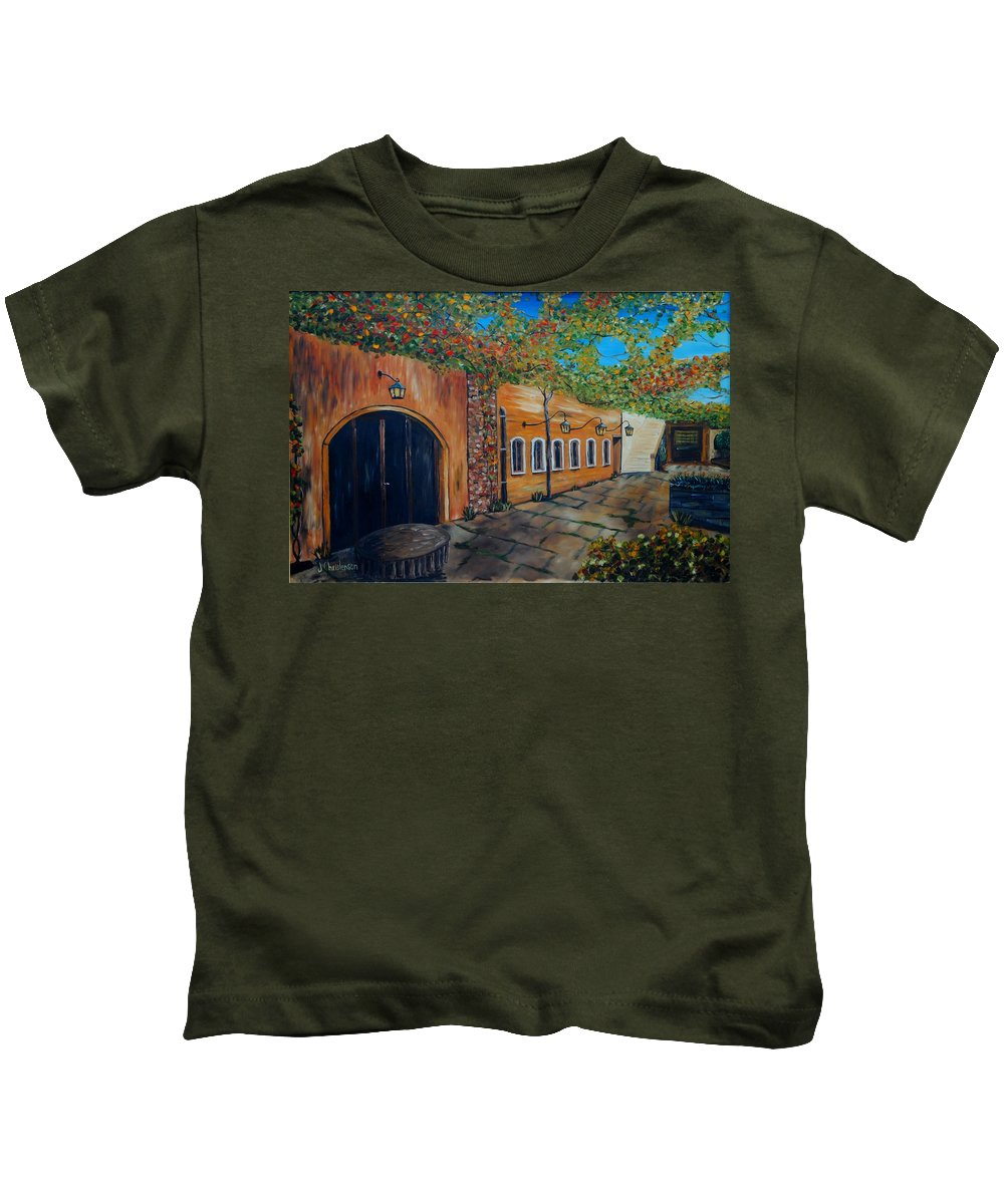 Patio Kids T-Shirt featuring the painting Garden Patio by Joe Christenson