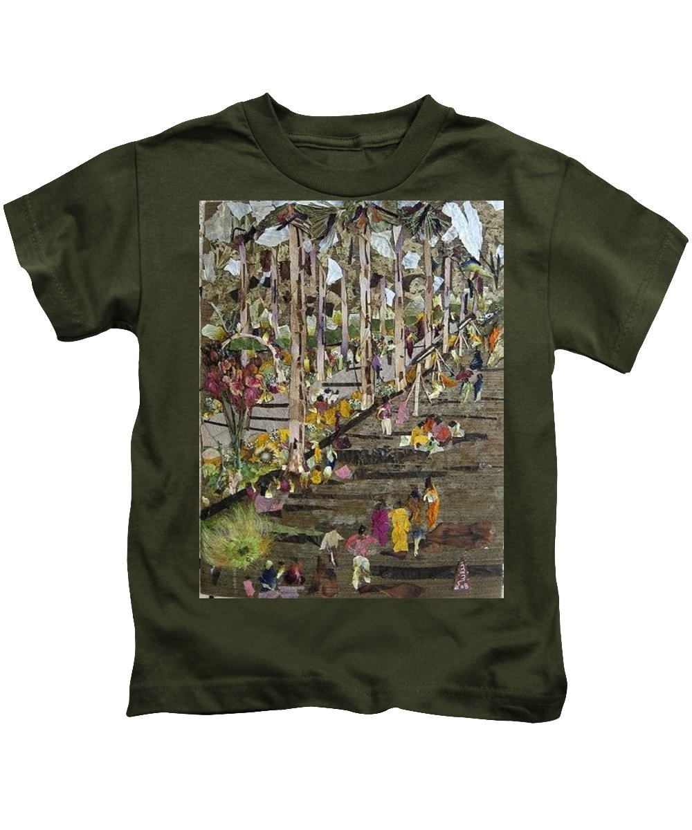 Garden Morning View Kids T-Shirt featuring the mixed media Garden Picnic by Basant Soni