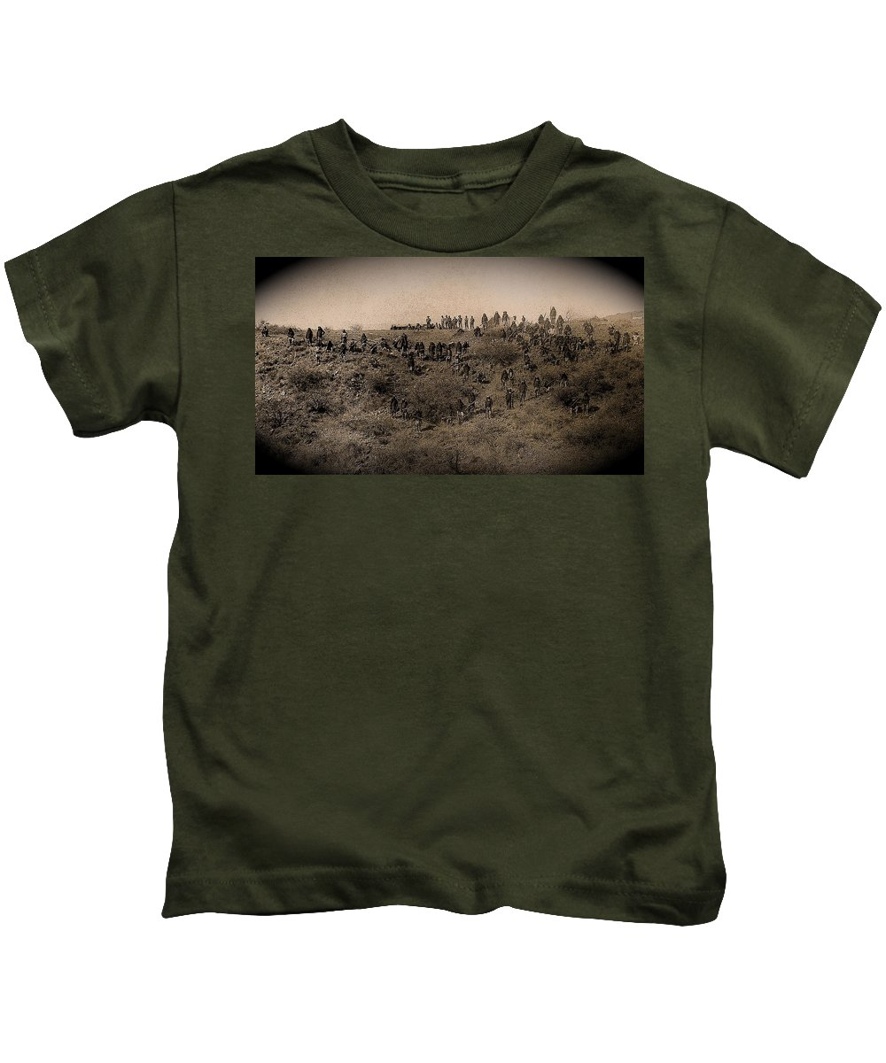 Geronimo's Band Of Warriors When Kids T-Shirt featuring the photograph Geronimo's Band Of Warriors When He Surrendered To General Crook September 4 1886 by David Lee Guss