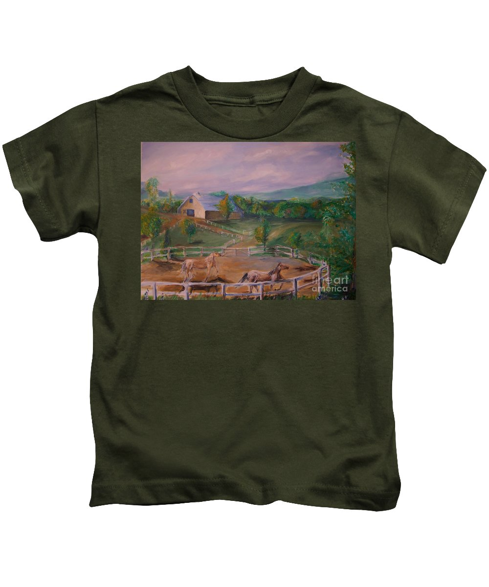 Pennsylvania Kids T-Shirt featuring the painting Gettysburg Farm by Eric Schiabor