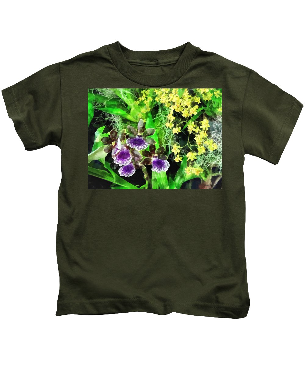 Orchid Kids T-Shirt featuring the photograph Geyser Jaimie And Golden Fantasy Orchids by Susan Savad