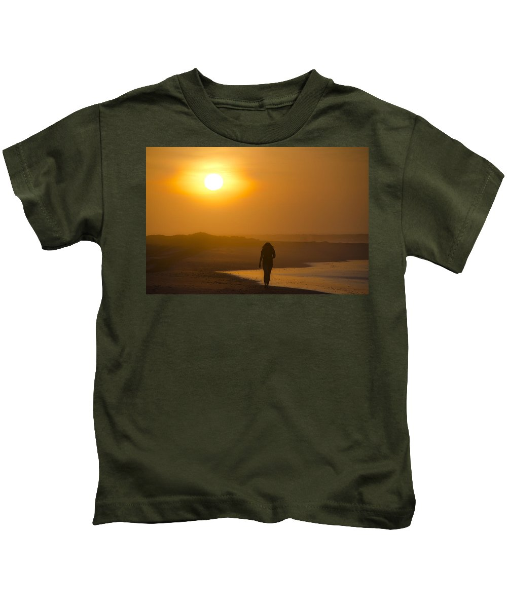 Girl Kids T-Shirt featuring the photograph Girl On The Beach by Bill Cannon