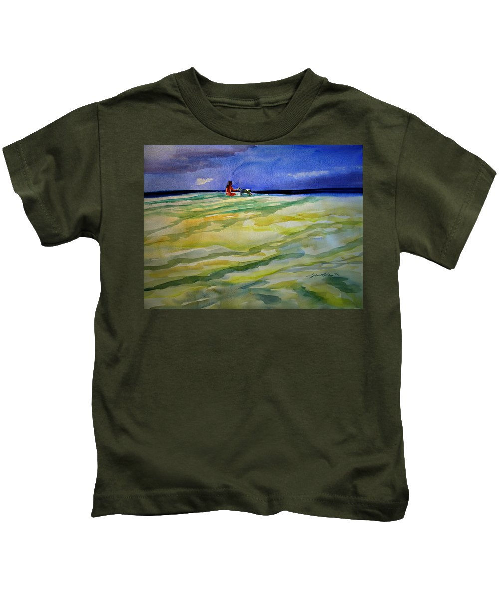 Impressionism Kids T-Shirt featuring the painting Girl With Dog On The Beach by Julianne Felton