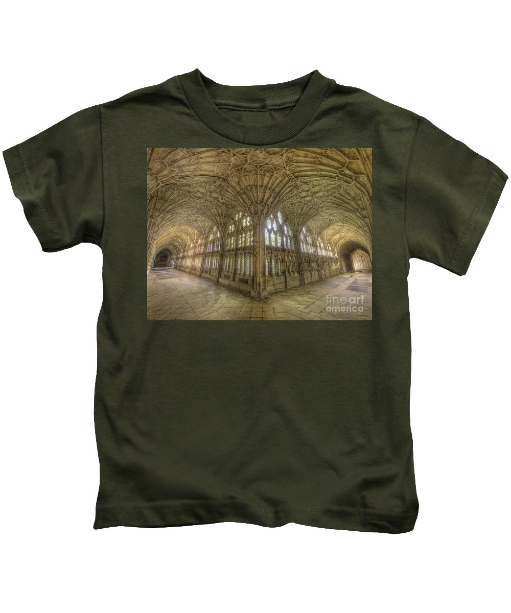 Hdr Kids T-Shirt featuring the photograph Gloucester Cathedral Cloisters by Yhun Suarez