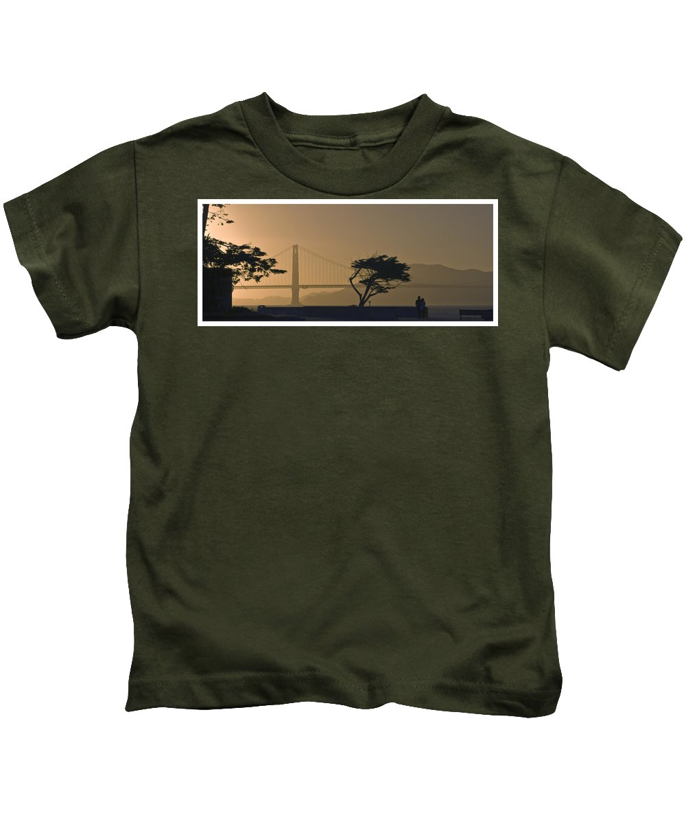 Luxury Kids T-Shirt featuring the photograph Golden Gate Lovers by Gene Norris