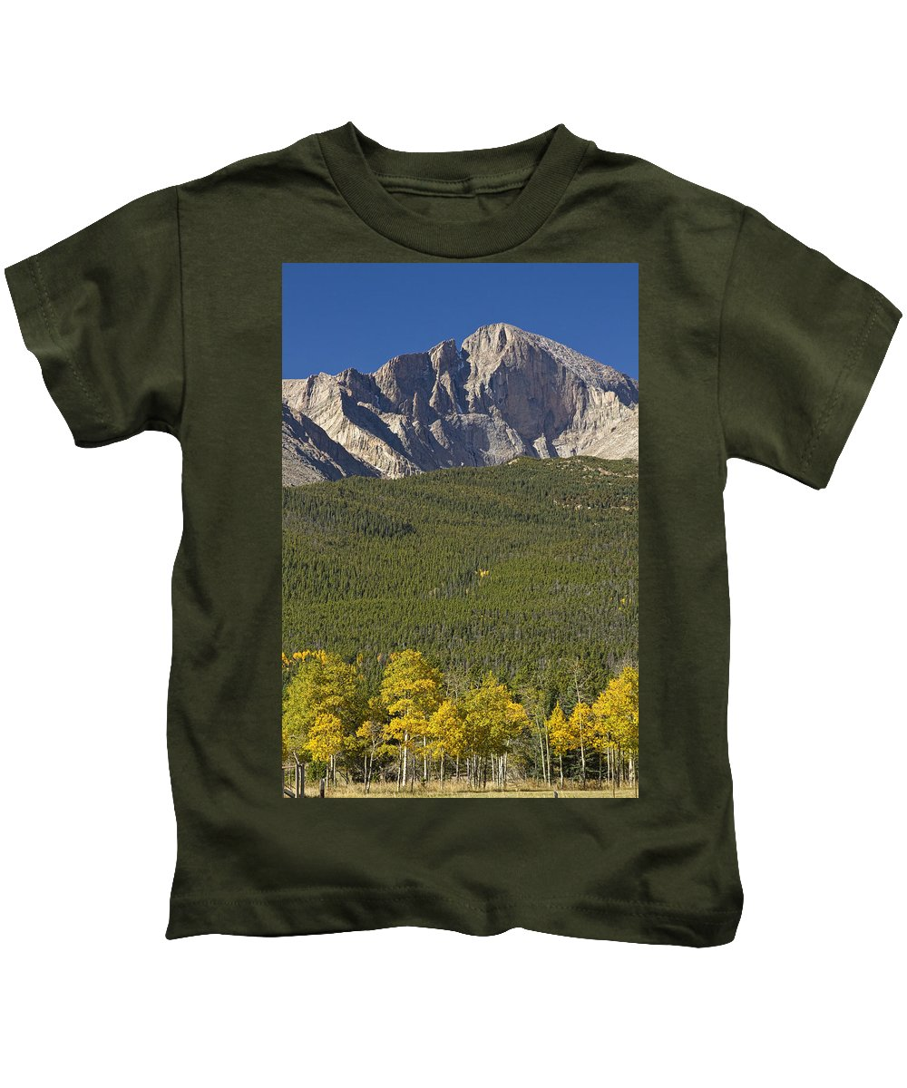 Colorado Kids T-Shirt featuring the photograph Golden Longs Peak View by James BO Insogna