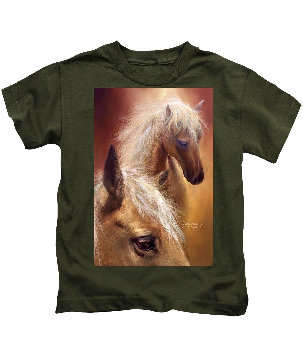 Palomino Kids T-Shirt featuring the mixed media Golden Palomino by Carol Cavalaris