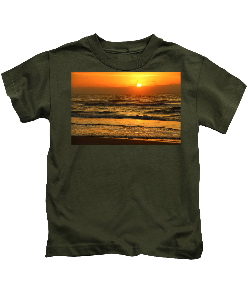 Topsail Kids T-Shirt featuring the photograph Golden Sun Up Reflection by Rand Wall