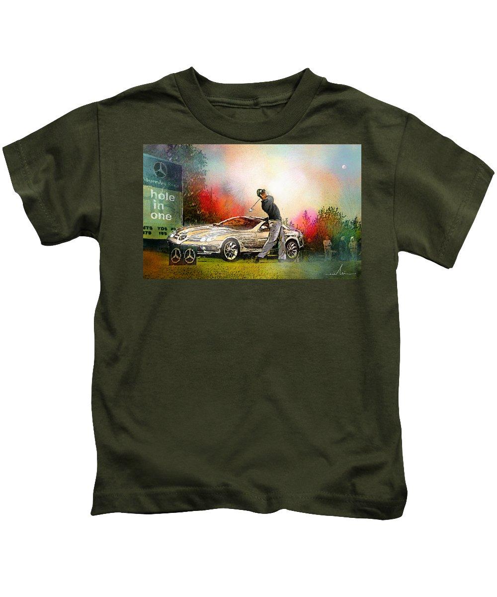 Golf Kids T-Shirt featuring the painting Golf In Gut Laerchehof Germany 03 by Miki De Goodaboom