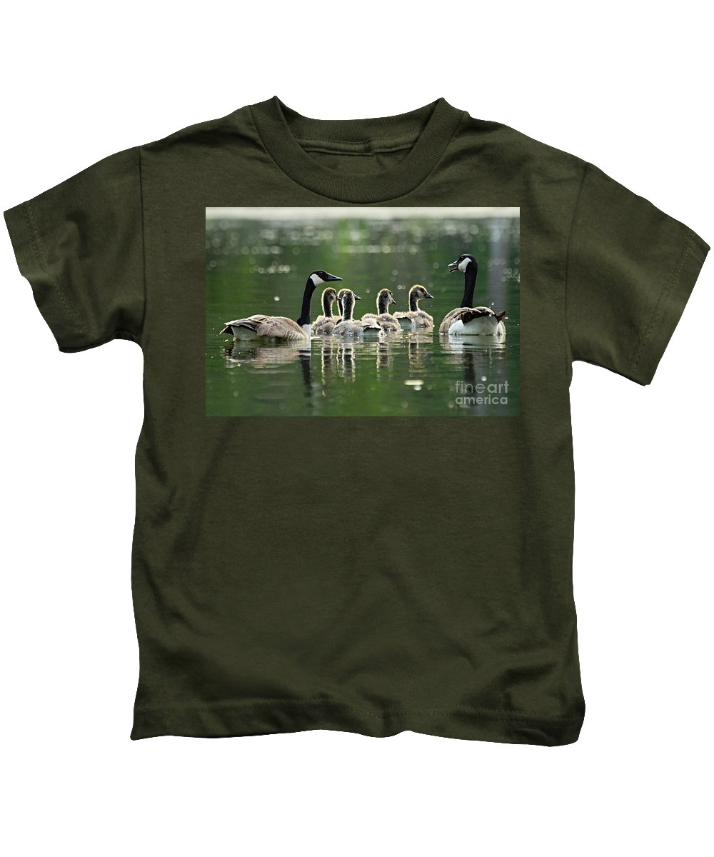 Photography Kids T-Shirt featuring the photograph Goose Family by Larry Ricker
