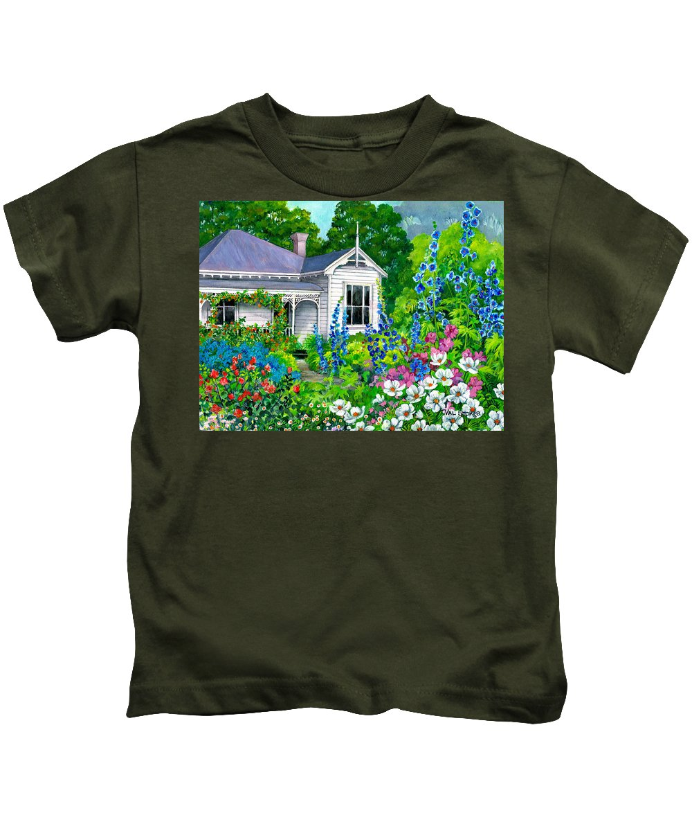 Art Licensing Kids T-Shirt featuring the painting Grandma's Garden by Val Stokes