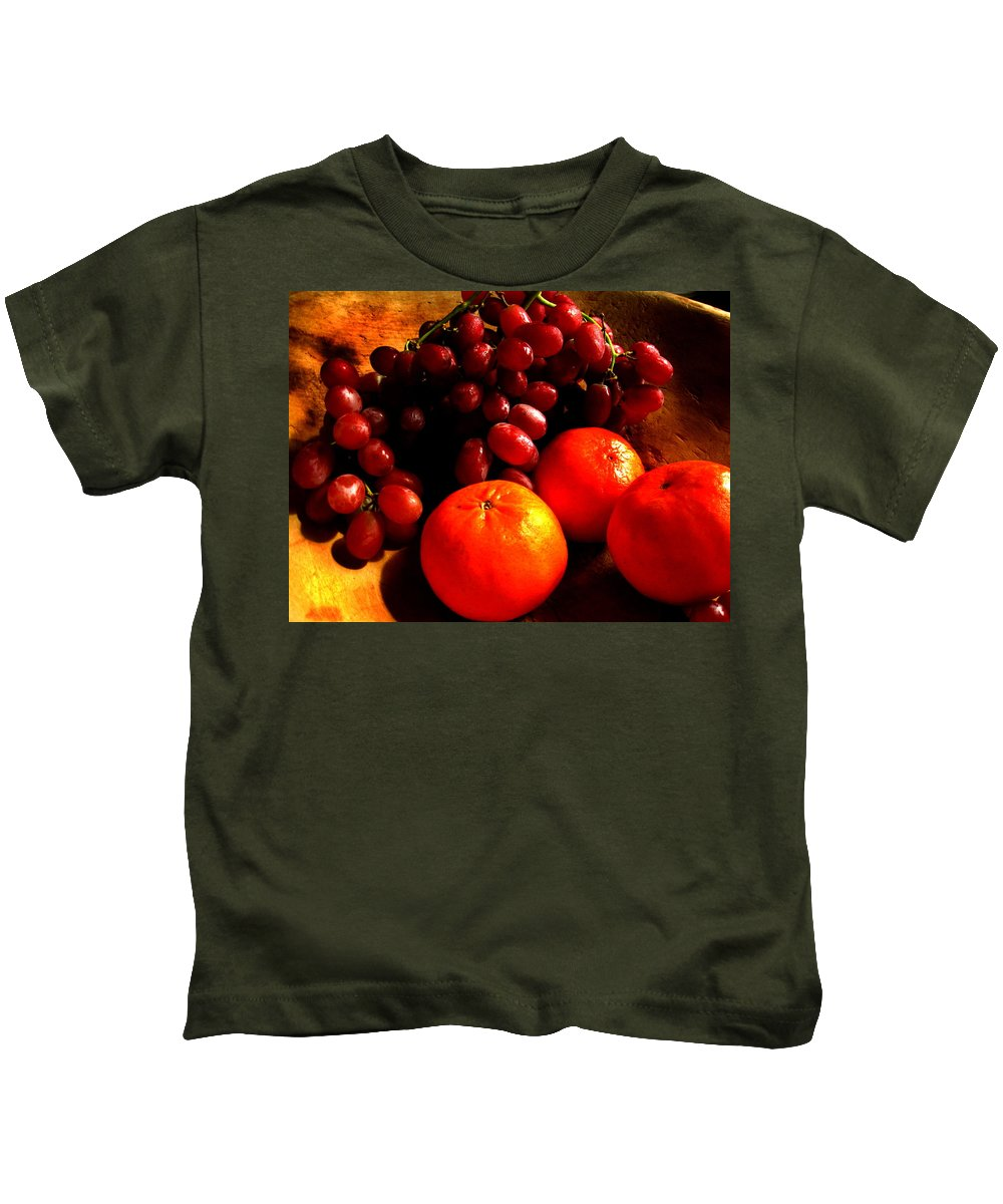 Rembrandt Kids T-Shirt featuring the photograph Grapes And Tangerines by Greg Allore