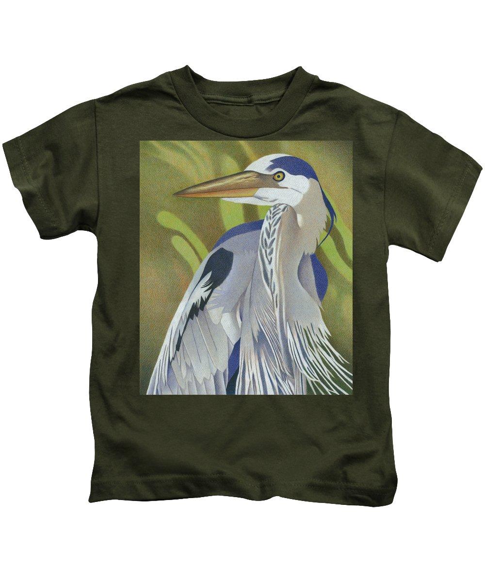 Art Kids T-Shirt featuring the drawing Great Blue Heron by Dan Miller