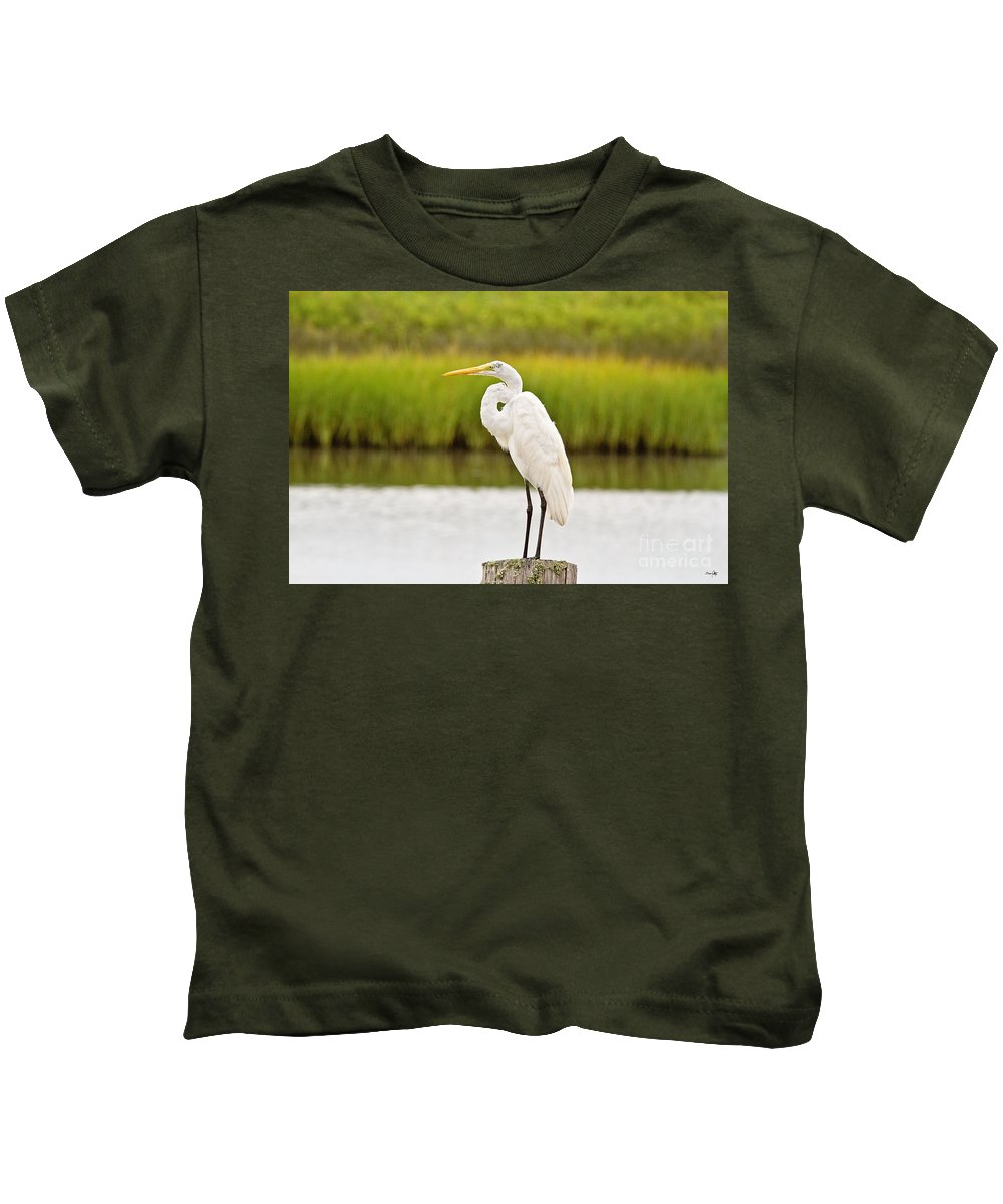 Marsh Kids T-Shirt featuring the photograph Great Egret by Scott Pellegrin